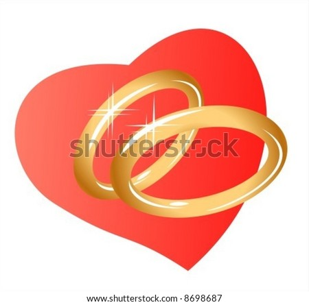 Two sparkling gold wedding rings on a background of heart. Digital illustration.