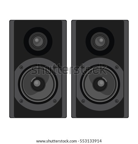 Two speakers. Acoustic system. Vector illustration.