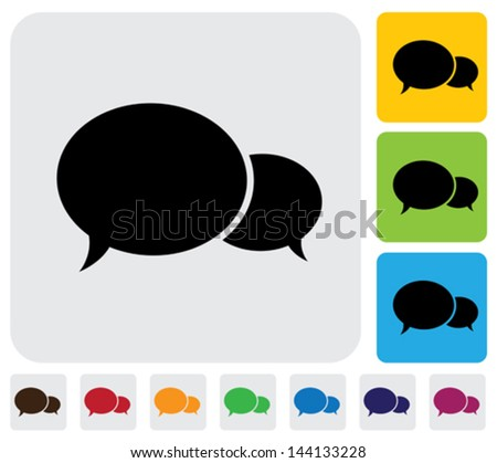 Two speech bubbles(chat icons)- minimalistic vector graphic. The illustration has simple colorful icons on green,orange & blue backgrounds & is useful for websites,blogs,documents,printing,etc - stock vector