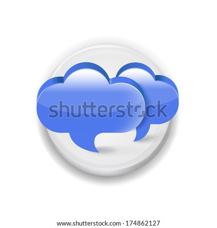 two speech/ communication bubble application white sign isolated on white background