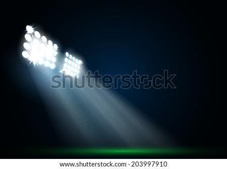 Two spotlights on a football field vector - stock vector