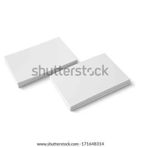 Two stack of blank business cards on white background with soft shadows. Vector illustration. EPS10. - stock vector