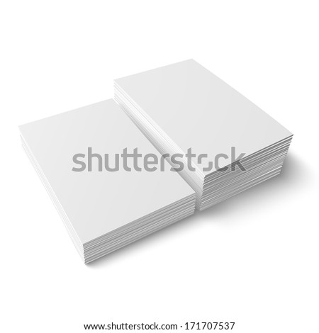 Two stacks of blank business cards of different heights on white background with soft shadows. Vector illustration. EPS10.
