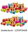 Two stacks of festive gifts. Vector set. - stock photo