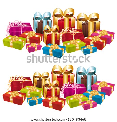 Two stacks of festive gifts. Vector set. - stock vector