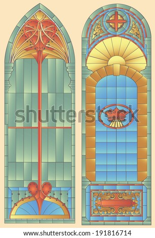 Two stained leaded glass windows