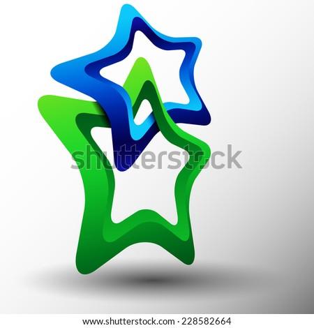 Two stars  in loop - stock vector