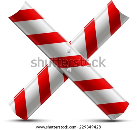 two steel strips of the protecting road barrier are established by a letter X - stock vector