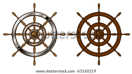 Two steering wheels - isolated on white (vector)