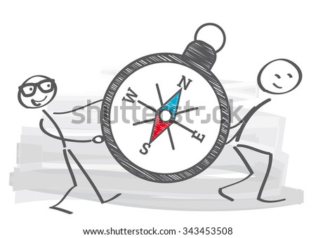 two stick figures carry a compass - stock vector