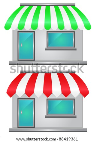Two storefront icon - stock vector