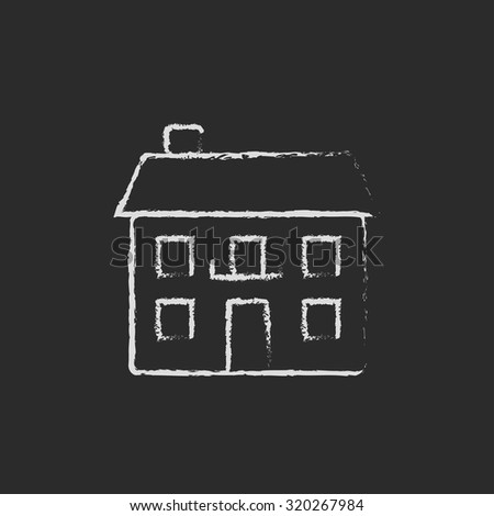 Two storey detached house hand drawn in chalk on a blackboard vector white icon isolated on a black background. - stock vector
