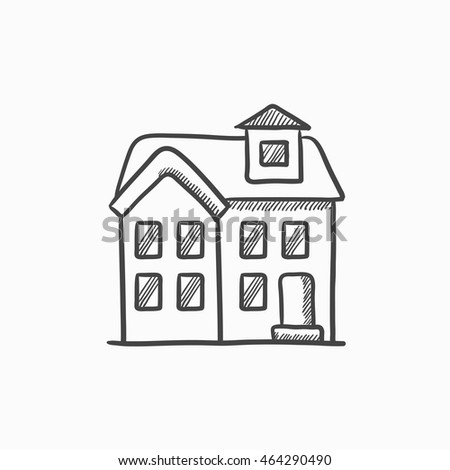 House sketch on home building infographic