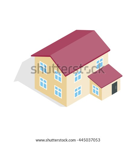 Two storey house icon in isometric 3d style isolated on white background. Construction symbol