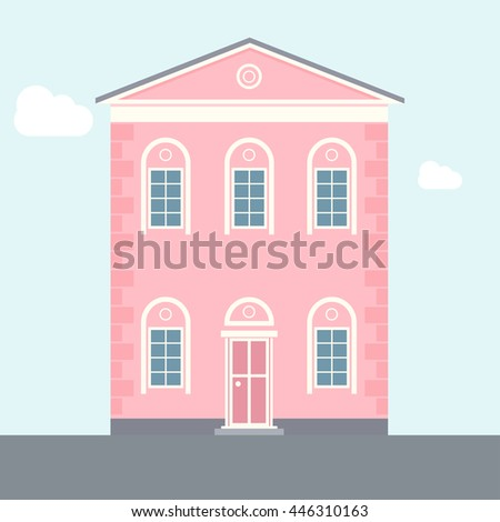 Pink Flat Apartment Building Old Architecture Vector Illustration Of