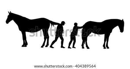 Two stubborn horses refusing to move. Funny vector illustration. - stock vector