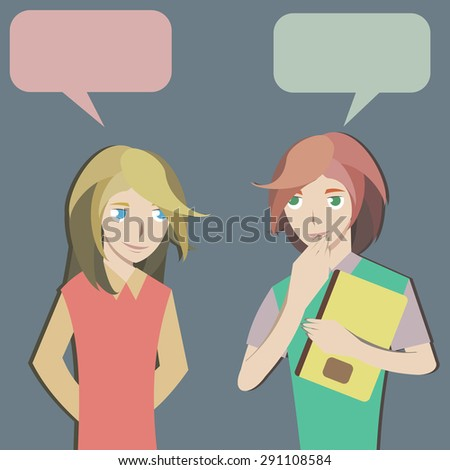 two students are chatting - stock vector
