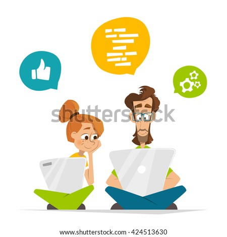 Two students characters studying with computer notebook laptop Flat web vector illustration for infographics
