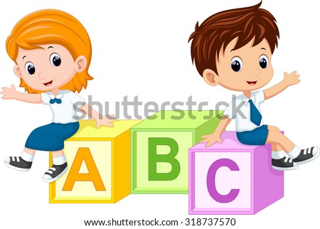 Two students sitting on the alphabet blocks  - stock vector