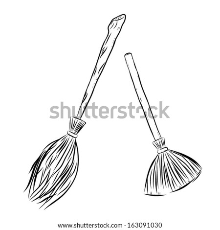 two style of brooms / cartoon vector and illustration, hand drawn, sketch style, isolated on white background. - stock vector