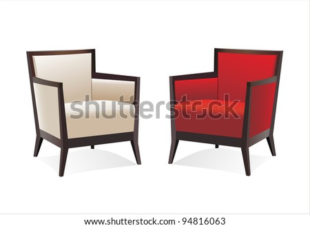 Two stylish contemporary chairs over white - stock vector