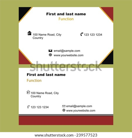 Two Stylish Single Sided Business Cards Stock Vector - Single business card template