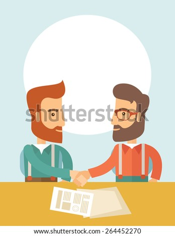 Two successful hipster Caucasian businessmen with beard facing each other handshaking. Hipster businessmen on a meeting signing the agreement with papers on the table. Partnership, leadership concept - stock vector