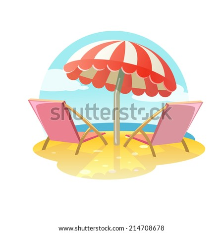 Two sun bed loungers and umbrella, relaxing scene on a breezy day at the tropical sea beach; two deck