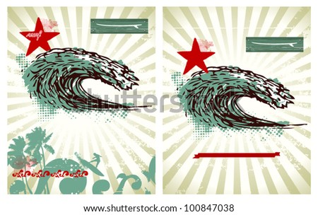 two surf backgrounds with big wave - stock vector