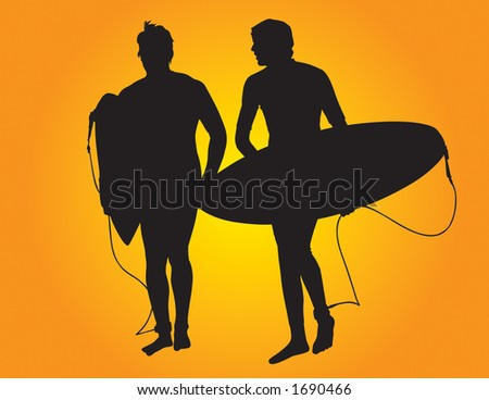 Two surfer vector silhouettes leaving after a long day surfing.  Both surfers are holding a surf board. - stock vector