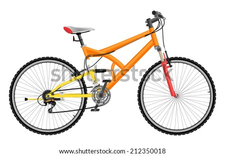 Two suspension mountain bike isolated on white background - stock vector