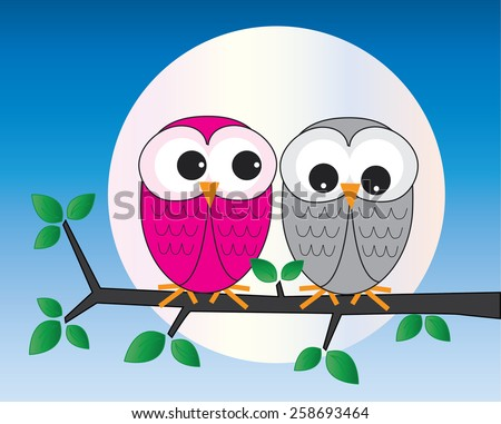 two sweet owls sitting on a branch - stock vector