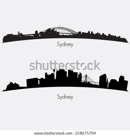 Two Sydney skylines collection. Editable vector file - stock vector
