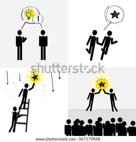 Two symbolic human embody the idea of show people - stock vector