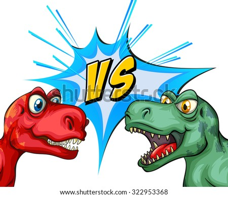 Two T-Rex fighting each other illustration - stock vector