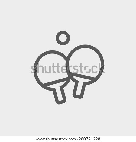 Two table tennis racket with ball icon thin line for web and mobile, modern minimalistic flat design. Vector dark grey icon on light grey background. - stock vector