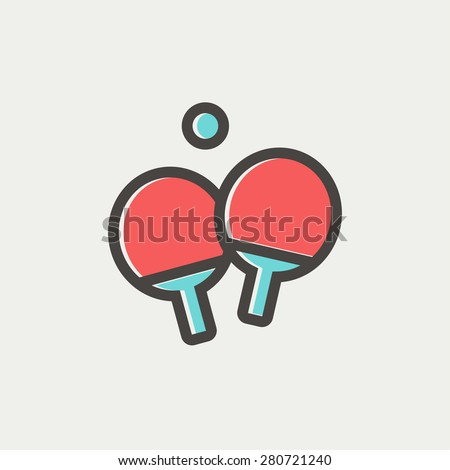 Two table tennis racket with ball icon thin line for web and mobile, modern minimalistic flat design. Vector icon with dark grey outline and offset colour on light grey background. - stock vector