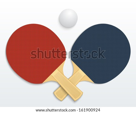Two table tennis rackets and a ball vector illustration isolated - stock vector