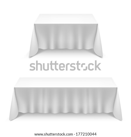 Two  tables with white tablecloth isolated on white background - stock vector