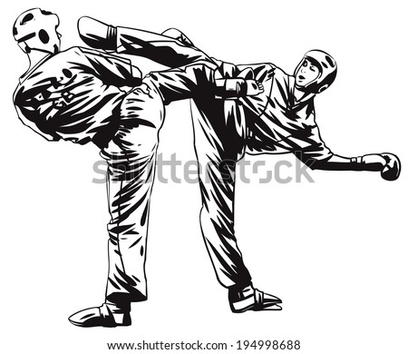 Two tae kwon do fighter - stock vector