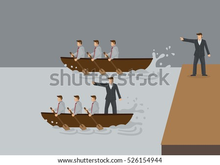Two teams of people rowing boat in the water, one with leader standing on land and one with leader in the boa. Creative vector illustration for concept on different types of leadership style.