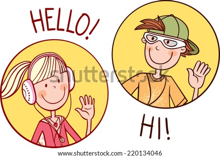 Two teenagers boy girl greet each stock vector 220134046 shutterstock two teenagers boy and girl greet each other vector illustration m4hsunfo