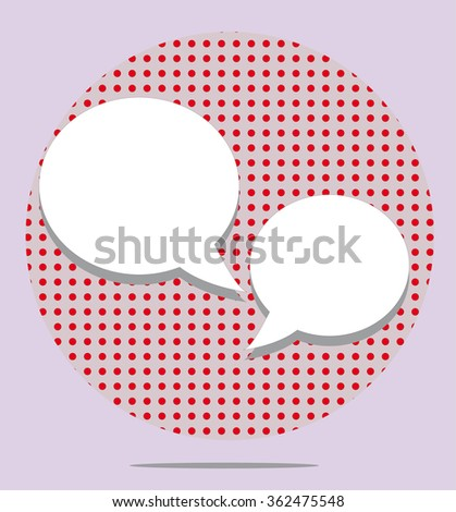 Two text balloons in red spotted round on pink background - stock vector