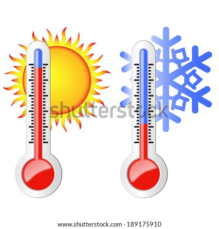Two thermometers, high and low temperature. Symbolize the heat and cold. Sun and snowflake. - stock vector