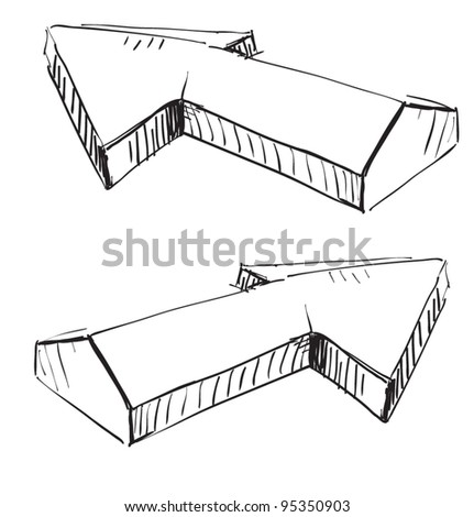 Two three-dimensional arrows.Hand drawing sketch vector icon - stock vector
