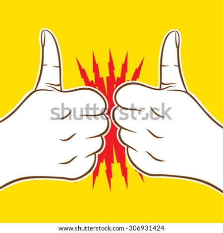 two thumb up icon cheers or hit, good luck wish each other design vector