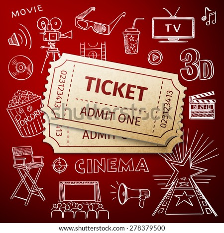 two tickets and hand draw cinema icon, excellent vector illustration, EPS 10 - stock vector