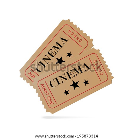 Two tickets to the cinema - stock vector