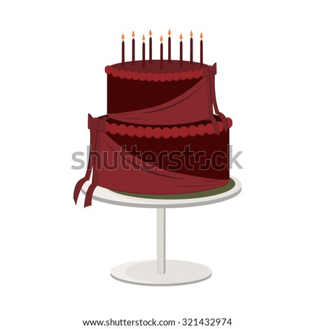 Two tier chocolate birthday cake with lit candles on a cake stand