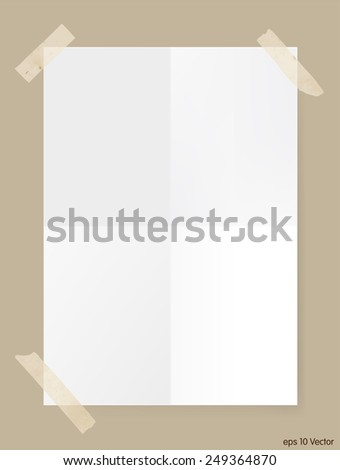 Two times folded white A4 size paper sheet, Vector - stock vector